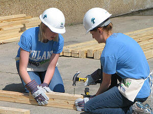 Students engage in service-learning.