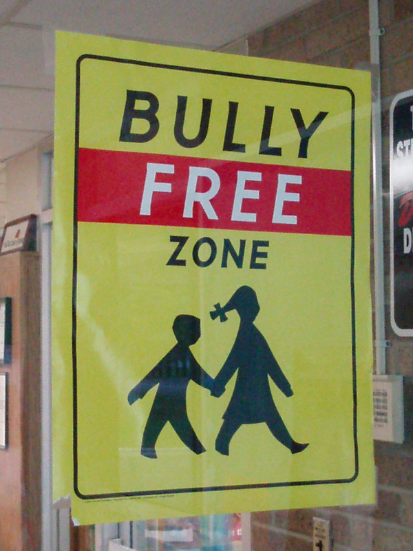 A Bully Free Zone sign - School in Berea, Ohio via http://www.flickr.com/photos/13542313@N00/2500644518/